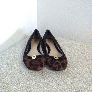 Fendi Black Brown Calf Hair Leather Ballet Flat